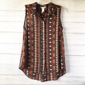 H&M | Sleeveless Button Down Long Blouse | Size 8